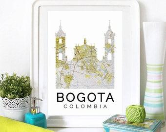 Bogota Art, Bogota Skyline, Bogota map, Bogota skyline, Bogota map print