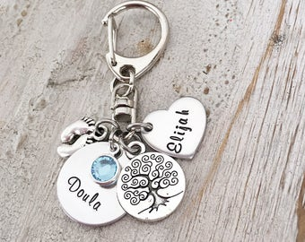 Doula Gift - Birth Doula Jewelry - Doula Thank You Gift - Doula Jewelry Gift -Doula Certification Gift - Nurse Gift - Hand Stamped Keychain
