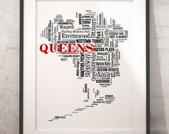 Queens Map Art, Queens Art Print, Queens Neighborhood Map, Queens Typography Art, Queens Wall Decor, Queens Moving Gift