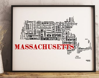 Massachusetts Map Art, Massachusetts Art Print, Massachusetts City Map, Massachusetts Typography Art, Massachusetts Decor