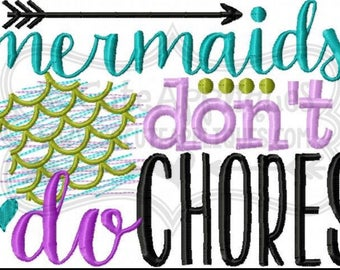 Personalized Mermaids Don't Do Chores Shirt/Bodysuit--Design by So Cute Appliques