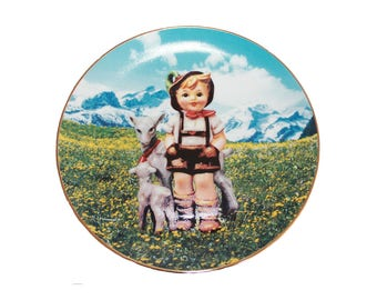 "Little Goat Herder by M. I. Hummel 8 1/4"" Collectible Plate 23kt Gold Trim COA"