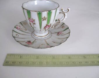 Beautiful Petite Antique Vintage Pink Roses Cup and Saucer Set