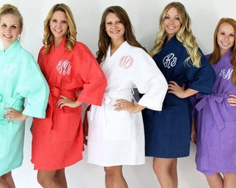 Monogrammed Robe-Waffle Weave Robe-Bride Robe-Bridesmaids Robe-Bridal Party Gifts-Wedding Day Robe-Wedding-Plus Size Robe-Bridal Party Robes