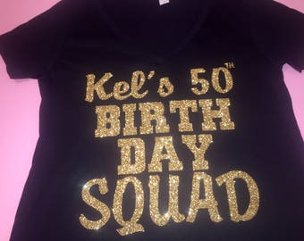Women 39 s birthday girl entourage shirts birthday by for Bucket squad gold shirt