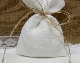 White Linen Bags 75. Burlap small bag. Rustic wedding favor. White burlap bags. White linen mini bags