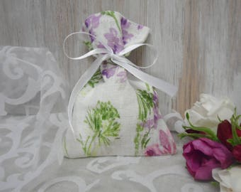 Floral Gift Bags. Small Favor Bags. White Linen Bags. Party Favor Bag. Burlap Bags