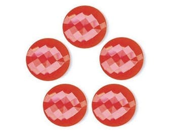 5 red plastic buttons 15 mm faceted