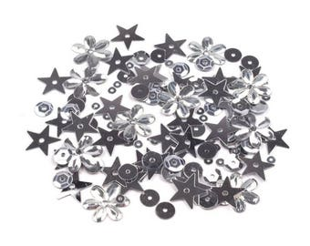 50 g of silver flowers round star sequins