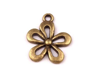 2 Charm pendant charm 15 x 13 mm bronze little flower