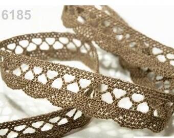 6185 - 18 mm Brown cotton lace Ribbon