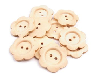 4 flower ivory 3 cm wooden buttons