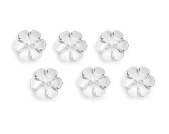 6 buttons 13 mm transparent flower good quality