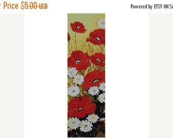 SALE HALF PRICE off Instant Download Beading Pattern Peyote Stitch Bracelet Poppies 1 Seed Bead Cuff
