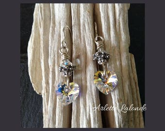 Earrings,silver,swarovski crysta, swarovski heart, crystal heart,silver earings, Mothers day gift.