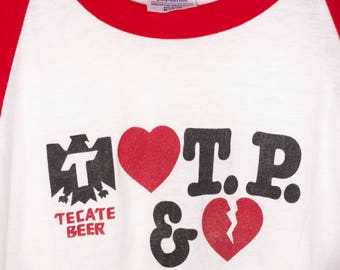1983 TOM PETTY and the HEARTBREAKERS raglan t shirt - vintage 80s - tour - tecate beer - rare