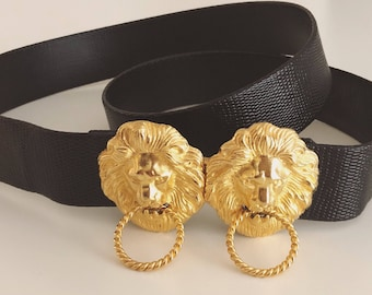 Black and Gold Adjustable Lion Belt. Black and Gold Belt. Adjustable Belt. Lion Belt. Vintage Belt.
