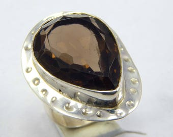 Hallowen Sale! Natural Faceted Smoky Quartz 92.5 sterling silver Fashionable Handmade Ring,weight 10.64 gram, ring size us 7
