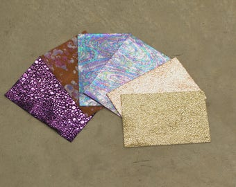 "Fashionista Collection Sample Pack 4"" x 6"" Leather Cow Hide 2-4 ounces grainy  RA-56527 (Sec. 1,Shelf 2,C)"