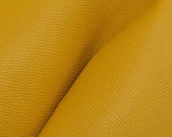 """Vintage Golden Rod Yellow Saffiano """"Uptown"""" Leather Cow Hide 8"""" x 10"""" Pre-cut 3-3 1/2 oz DE-63894 (Sec. 4,Shelf 6,B)"""