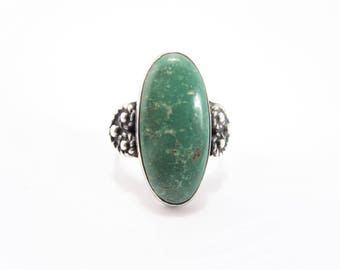 Vintage Southwestern Green Turquoise Sterling Ring Size 6.75