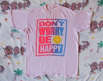 Vintage 80's Don't Worry Be Happy T shirt, size Medium neon Sun Sportswear