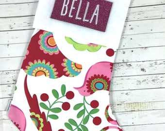 Personalised christmas stocking with embroidered name, multi coloured bird design, designer fabric