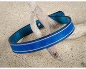 Blue leather choker / dou...