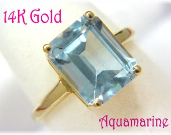 14K Gold - 4 Ct Aquamarine Ring - Natural Sparkling Pale Blue - Wedding Bride - Gift Box - Perfect Gift - Estate Antique - FREE SHIPPING