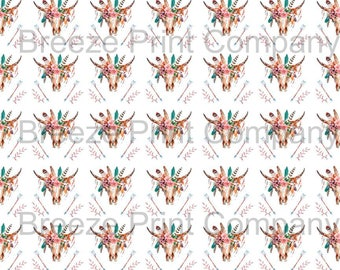 Cow skull and feather and arrow pattern printed craft vinyl sheet - HTV or Adhesive Vinyl -  watercolor southwest desert HTVWC26