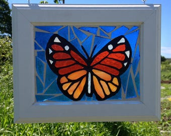 Monarch Stained Glass Butterfly Mosaic Suncatcher Stained Glass Monarch Butterfly Sun Catcher Monarch Butterfly Home Decor Window Hanging