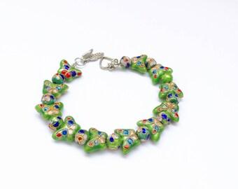 Pretty butterfly vintage style Cloisonne bead bracelet