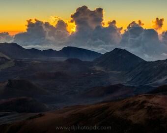 Haleakala Sunrise Photograph, Hawaii Panorama, Maui Panoramic Print, Clouds, Fine Art, Sky, Wall Decor, Volcano, Crater, Mountains, 12x36