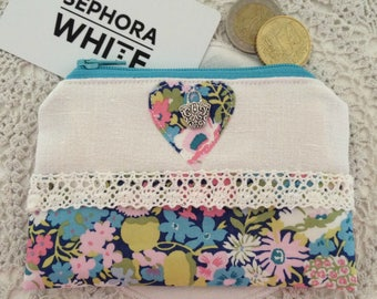 Liberty Coin Purse, Fabric Coin Purse, Small Zip Purse, Money Pouch, Small Change Purse, Liberty Gift Idea, Gifts for Her, Girls Gift Idea