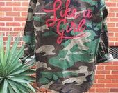 Like A Girl | Painted Vintage Camo Army Jacket