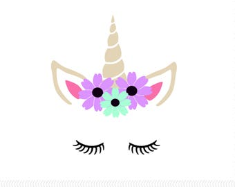 Floral Crown Unicorn Vinyl Decal | Unicorn Decal | Car Decal | Yeti Decal | Magical Decal |