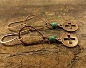 Copper Earrings, Metal Earrings, Boho Earrings, Cross Earrings