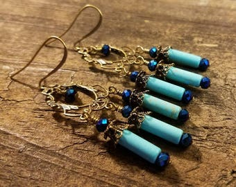 Chandelier Earrings, Boho Earrings, Gypsy Earrings, Blue Earrings