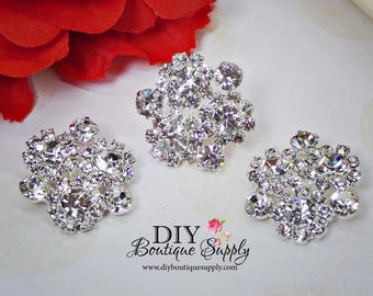 Super bright Sparkly Crystal Buttons Rhinestone buttons Embellishment for Baby Headbands flower centers Hair Bow Centers 24mm N127