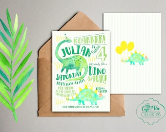 Dinosaur Birthday Invitation, Printable Dinosaur Invitation, Watercolor Dinosaur Invitation, Gender Neutral Dinosaur Invitation