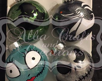 Nightmare Before Christmas Plastic Ornaments (Jack, Sally Zero and Oogie Boogie)