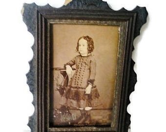 On Sale Antique Photograph of Young Boy 1800s Miniature East Lake Victorian Frame