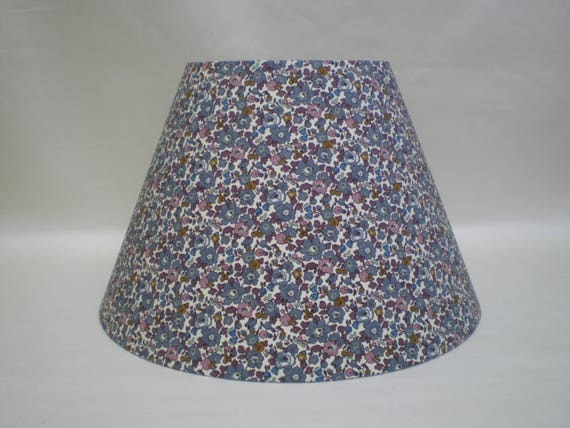 Handmade Coolie  Lightshade - Liberty Fabric - Betsy - Floral Design- Grey