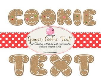 Christmas Ginger Cookie Text PSD