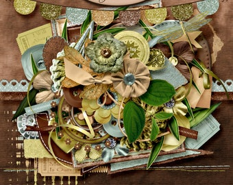 Digital Scrapbook: Elements Set, Sandalwood