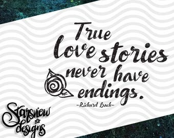 True Love Stories Digital Printable Cut File Clipart | jpg, png, svg, eps, dxf | Silhouette | Circut | Handlettering