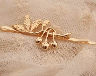 Hair pin, barrette, cherries with leaves