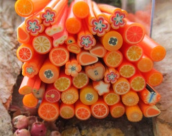 accessory jewelry/clay polymer/fimo/set of 50 flowers orange citrus fruit canes canes