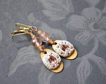 Pink Gold Swarowski Artisan Earrings, Pink Earrings,Lightweight,Gold plated 925 ss leverback Earrings,Gold Pink Earrings,Mothers Day