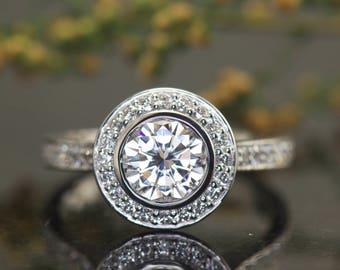 1.00ct Halo Engagement Ring, Bezel Set F1 Moissanite in Round Diamond Halo & Diamond Band, 0.40ctw Bead Set Diamonds, 2.2mm Wide, Elizabeth